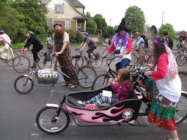 Never a dull moment in Portland, Oregon. Bike Parade. Image courtesy, Tomas Quinonas