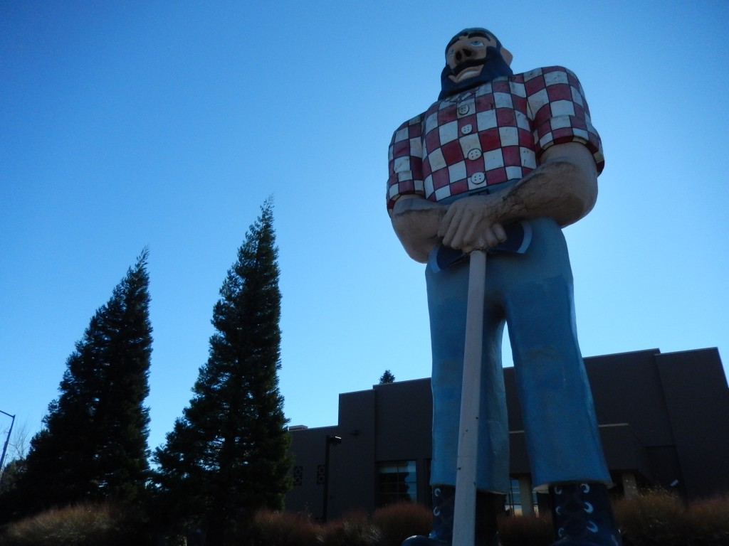 The iconic Paul Bunyan statue gazes out over Historic Kenton in Portland.