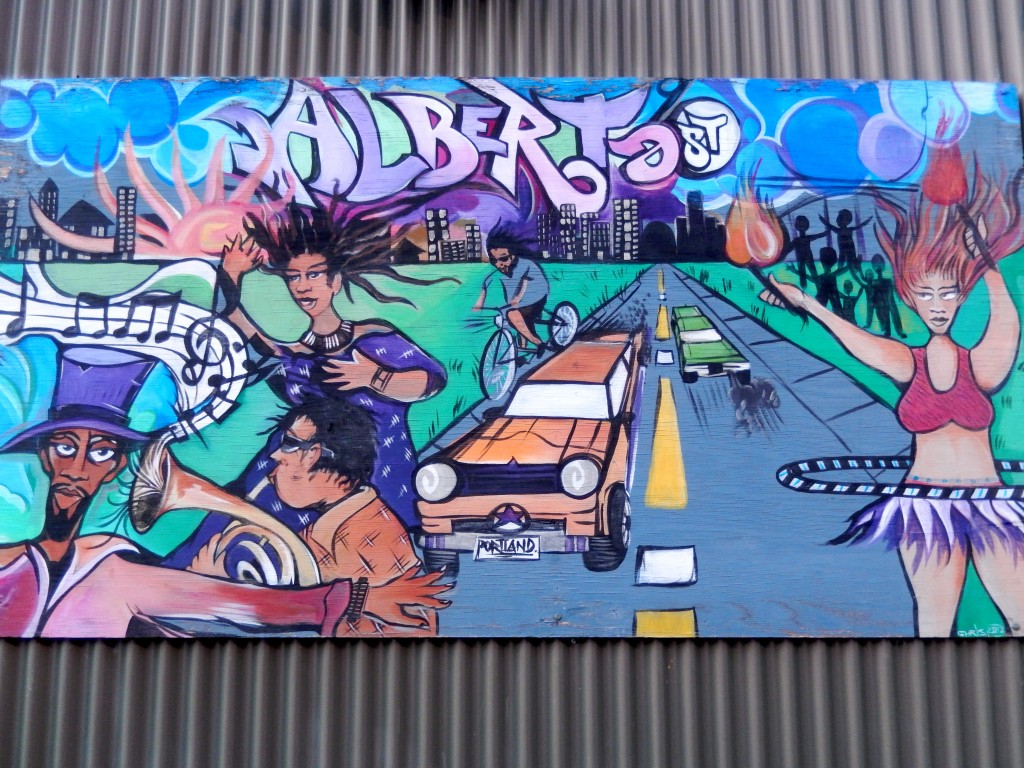 Mural depicting life in the Alberta Arts District. Portland, Oregon