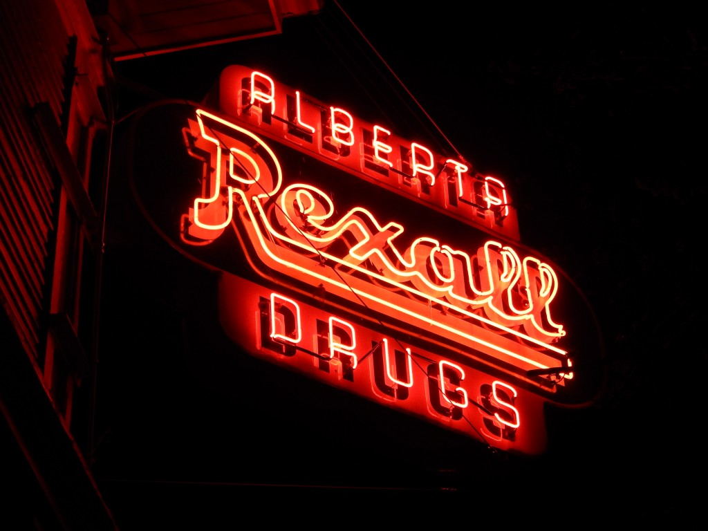 The Alberta Arts District's Rexall Drugs store sign was relit in December of 2014, signaling growth and prosperity.