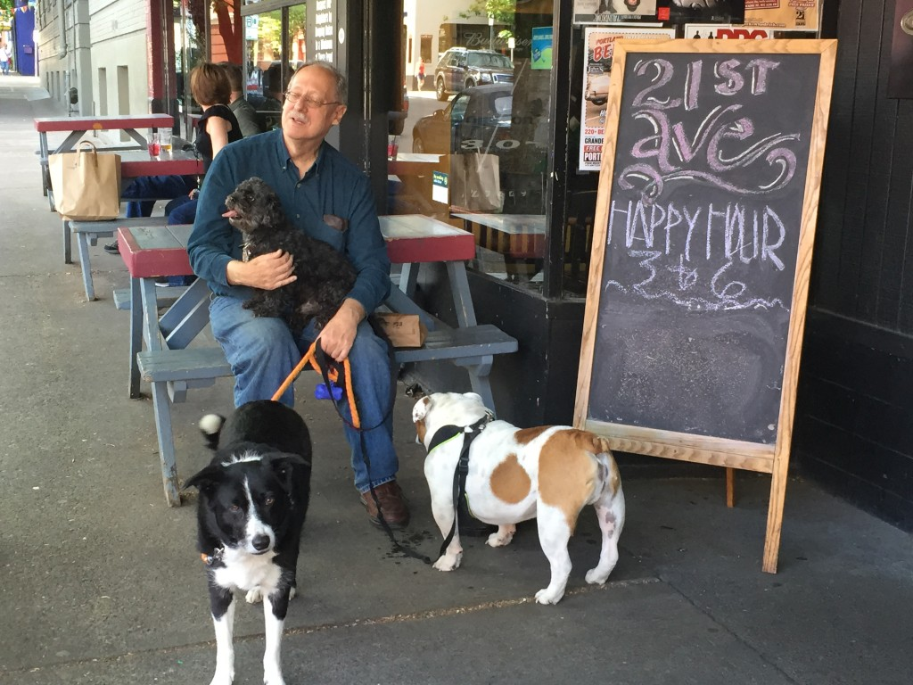"Great Dog-Friendly patio at 21st Ave. Bar and Grill in NW Portland. Bring your dog and sample one of theirs! Try the IPA Beer Brat or the Pork Brat covered in ""21 sauce"" and caramelized onions. (Image Courtesy of 21st Ave. Bar and Grill)"