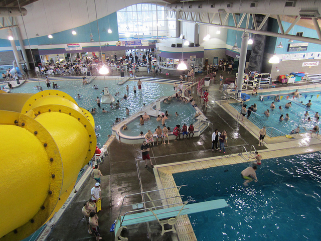 So much awesome under one roof! Waterslides and a kiddie pool area, kids love the Clackamas Aquatic Center. Image courtesy, Eli Duke