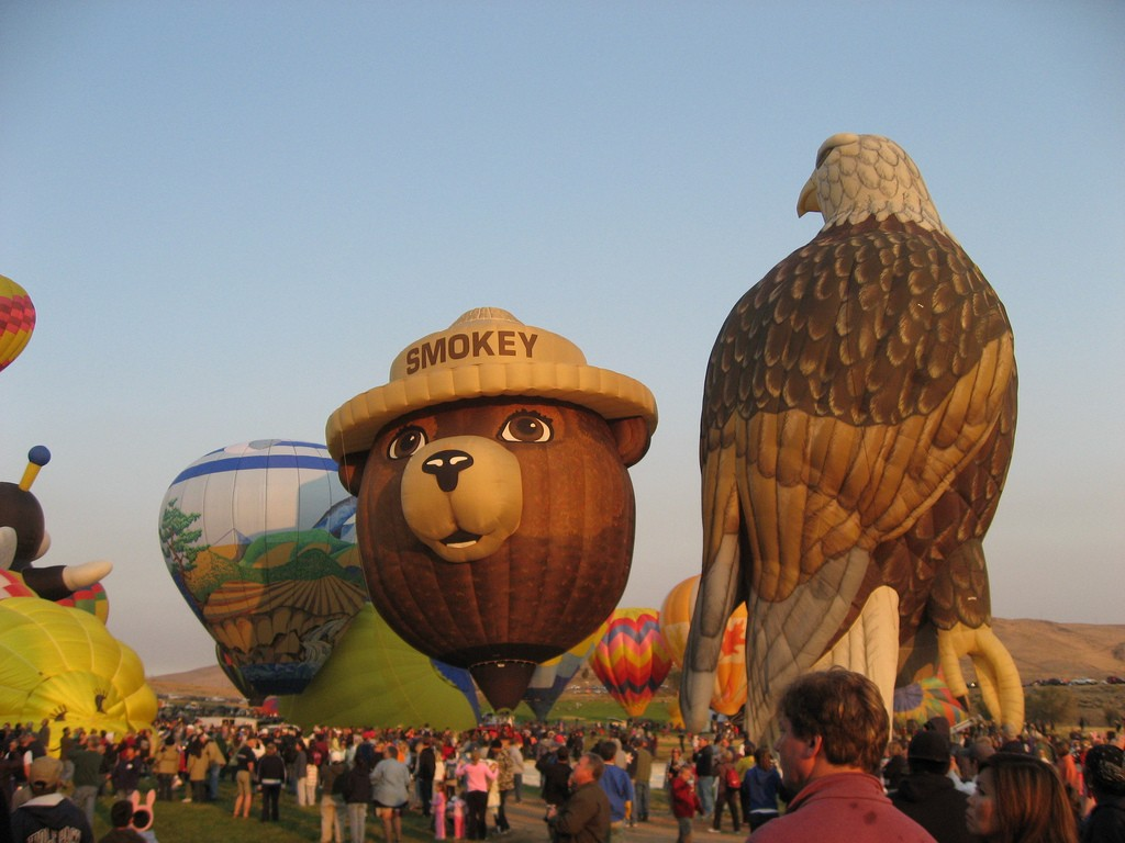 The Tigard Hot Air Balloon Festival is fun for the whole family. Kids will love seeing this rainbow of color in the sky. Image courtesy, George