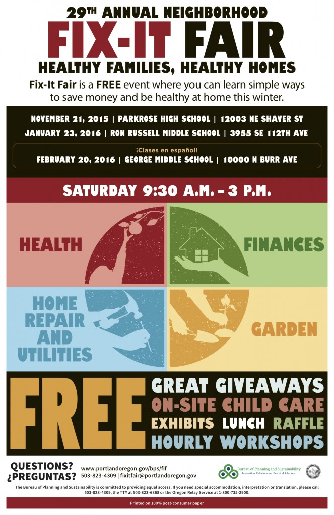 A fantastic, free event by the City of Portland for home owners and families looking to save costs, save the environment, and increase the health and happiness in the home. Fix It Fair